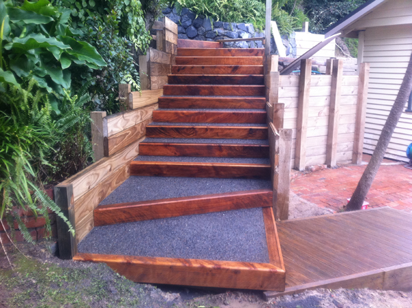 New retaining wall and steps