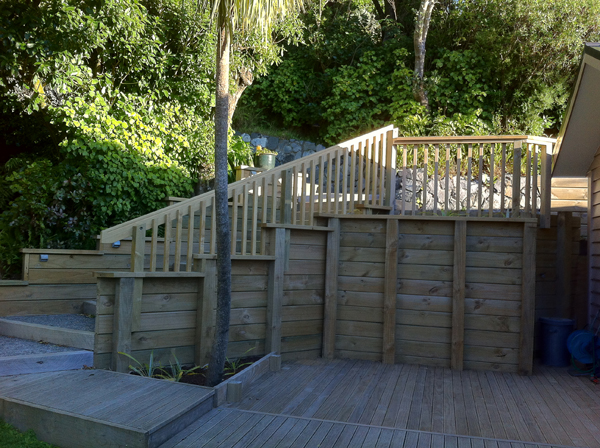 Completed retaining wall and steps - top down view
